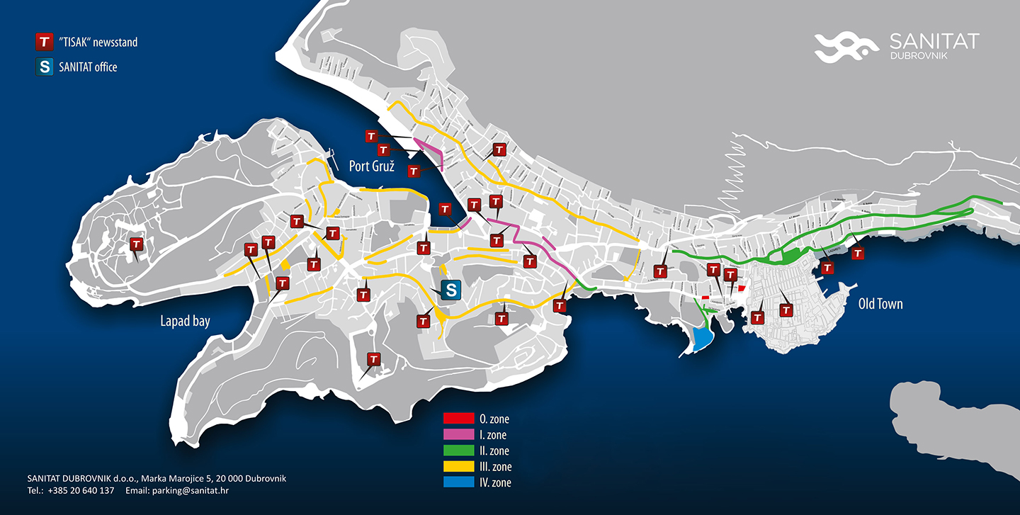Parking zones Dubrovnik map