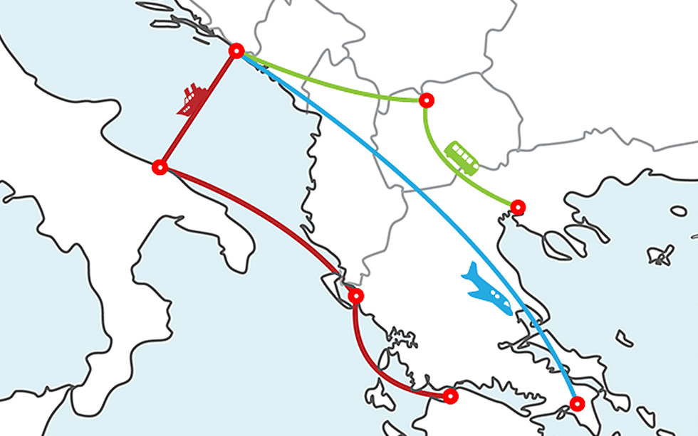 Dubrovnik to Greece ferry map
